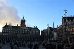 The busy Dam square Stock Photos