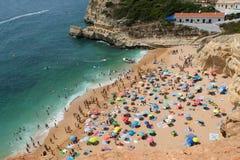 A busy day on Benagil beach Portugal stock photo