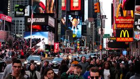 Busy day in Time square stock photography