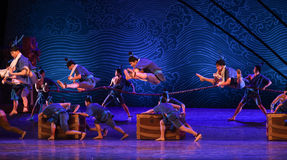 """Busy deck-Dance drama """"The Dream of Maritime Silk Road"""". Dance drama """"The Dream of Maritime Silk Road"""" centers on the plot of two generations of a sailor Royalty Free Stock Photography"""