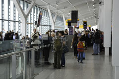 Busy departure gate at Heathrow airport Royalty Free Stock Images