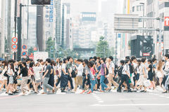 Busy district in Tokyo, Japan. Royalty Free Stock Photo