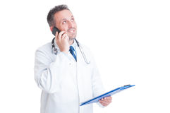 Busy doctor concept isolated on white Royalty Free Stock Photos