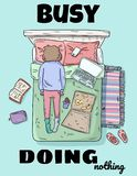Busy doing nothing cute funny postcard. Girl procrastinating on the bed. Mess at home. Comic style image. Top view royalty free illustration