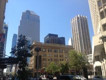 Busy downtown walk Calgary City Alberta. Exploring  and walking downtown Calgary Alberta Stock Photo