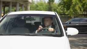 Busy driver talking on phone and knocking down woman on road, car accident. Stock footage stock video