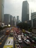 Congested vehicle passage during peak hours in Guangzhou stock images