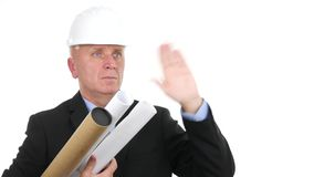 Busy Engineer Image with Plans and Projects in Hand Salute with a Hand Gestures.  stock footage