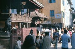 1975. Nepal. Katmandu. Temples. The busy everyday life around some small temples in Kathmandu Stock Photos