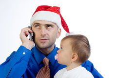 Busy Father Royalty Free Stock Photography