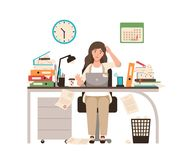 Busy female office worker or clerk sitting at desk completely covered with documents. Woman working at laptop overtime. On day before deadline. Colorful vector royalty free illustration