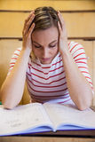 Busy female student studying Royalty Free Stock Photos