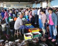 Busy Fish Market in Sinda Port, Taiwan Stock Image