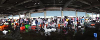 Busy Fish Market in Southern Taiwan Stock Photography