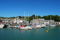 Busy fishing harbour at Padstow Cornwall Stock Images