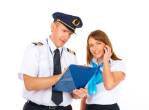 Busy flight crew Stock Photos