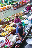 Busy floating market in Thailand Stock Photography