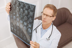 Busy focused neurosurgeon studying his patients x-ray Stock Photo