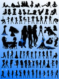 Busy Gals Silhouette Designs Royalty Free Stock Photography
