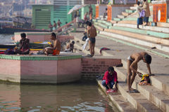 Busy Ganges river bank in the city of Varanasi, In Stock Photo