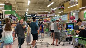 Busy grocery store on a week day during the coronavirus pandemic