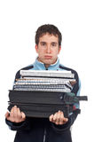 Busy handsome teenager Stock Photography
