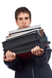 Busy handsome teenager Royalty Free Stock Photos
