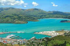 Busy Harbor In Summer Christchurch, New Zealand Stock Photos