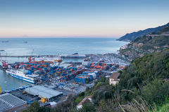 Busy harbor of Salerno, Italy Royalty Free Stock Image