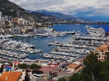 Harbour of Monaco on a cloudy day royalty free stock photos