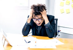 Busy and headache, businessman. Busy and headache person, unsuccessful businessman in office Stock Image