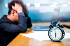 Busy and headache, deadline. Busy and headache person, unsuccessful businessman Royalty Free Stock Image