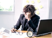 Busy and headache. Person, unsuccessful businessman Royalty Free Stock Images