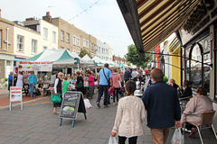 Busy high street market town Stock Photography