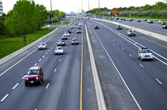 Busy highway. Busy multi-lane highway in a big city Stock Photos