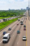 Busy highway. Busy multi-lane highway in a big city Stock Image