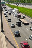 Busy highway. Busy multi-lane highway in a big city Royalty Free Stock Images