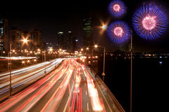 Busy highway with fireworks Stock Photography