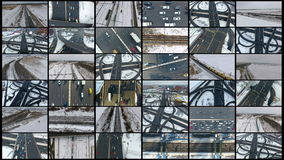 Busy Highway, Freeway, Motorway, Transportation Interchange. Collage of 16 videos. stock video