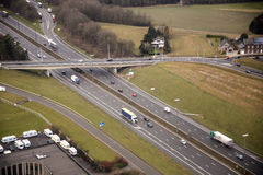 Busy highway. Interchange with seen from above, aerial view Royalty Free Stock Photo
