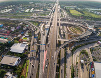 Busy highway junction from aerial view stock photography