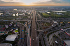 Busy highway junction from aerial view royalty free stock photos