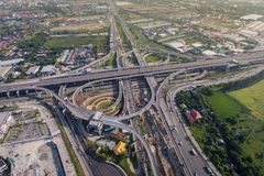 Busy highway junction from aerial view stock photos