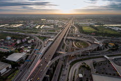 Busy highway junction from aerial view stock image