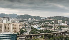 Busy highway junctions in Rio de Janeiro, Brazil. Iconic Maracana stadium is visible on far left of frame Stock Images