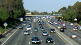 Busy Highway in Los Angeles - Tilt Shift. The 101 freeway in Los Angeles stock footage