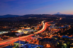 Busy highway at night, Bellevue Washington Royalty Free Stock Photo