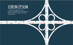 Busy highway road junction minimalistic banner. Busy highway road junction. Urban road traffic with cars top view. Overhead view of transport illustration royalty free illustration