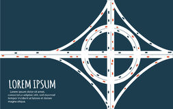 Busy highway road junction minimalistic banner. Busy highway road junction. Urban road traffic with cars top view. Overhead view of transport illustration stock illustration