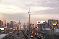 Busy highway to Toronto Downtown. Ontario, Canada Stock Photos